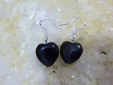 EARRINGS HEART-SHAPED OBSIDIAN BEADS 1.2CM MOUNT ARG925