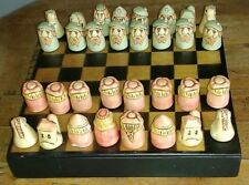"CHESS SET IN CASE-REPLICA OF ""BATTLE OF CULLODEN"" FIGURES CARVED BY DONALD CORR"