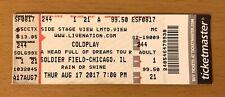 2017 i COLDPLAY SOLDATO Campo Concerto di Chicago Matrice del BIGLIETTO una testa piena di sogni