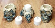 TESCHIO tealight portacandele combinazione di tre Blu/Oro e cera-effetto Look