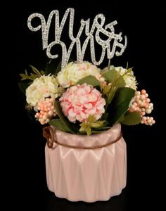 WEDDING CAKE TOPPER PICK DECORATION SILVER - GOLD - WOODEN - GLITTERED MR & MRS