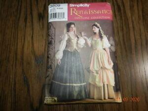 PATTERN Renaissance Lady Wench costume Hat Veil Simplicity 3809 16 18 20 dress