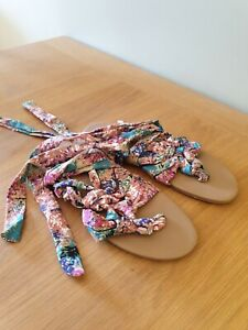 Summer Sandals Floral Fabric Strappy Tie Around Flat Shoes UK Size 5 EU 38