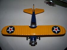 VINTAGE WOOD TOY US NAVY WOODEN AIRPLANE BIPLANE MODEL RARE #1