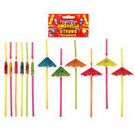 12 Hawaiian Umbrella Straws - Luau Loot/Party Bag Drinking Wedding/Kids