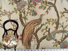 Drapery Upholstery Fabric Birds and Berries Embroidered Jacquard - Ivory Multi