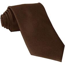 New Vesuvio Napoli Men's necktie solid color 100% polyester wedding prom Brown