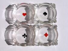 Lot de 4 cendriers coeur,pique,trèfle,carreau, cartes à jouer  ,Vintage , Design