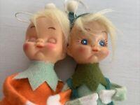 Vintage Christmas Pixie Elf 1960s Felt Tree Ornaments Japan Lot 2 MCM