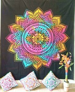 Bedspread Flower Design Multi Color Tapestry Queen Size Cotton Wall Hanging Art
