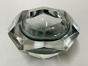 Murano Faceted Glass Bowl Designed by Alessandro Mandruzzato 1960s Italian Glass