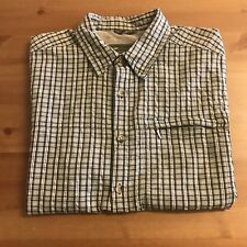 "MOUNTAIN LIFE Men's Shirt - 16"" S Small Short Sleeved Green Checked Plaid Cotton"