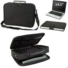 Executive Briefcase Laptop Computer Bag Case w/ Zippered  Pocket Leather Trim