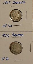 1907 AND 1911-D BARBER DIMES-10C  -BOTH G TO VG - GOOD TO VERY GOOD