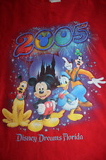Disney Dreams Florida 2005 Mickey Mouse Donald Duck Men's Red T Shirt Size XL
