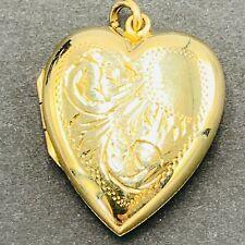 Vintage 9ct Yellow Gold Heart Shaped Decorative Engraved Locket Pendant L118