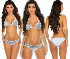 Neckholder Bikini Pailletten Push-Up Triangle Tankini Monokini Badeanzug Weiß S