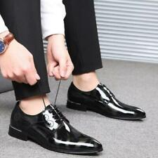 Mens Fashion Leather Shoes Business Pumps Pointy Toe Shiny Low Top Lace up Party