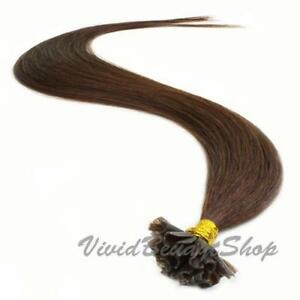 50 Pre Bond U Glue Tip Straight Remy Human Hair Extensions Medium Dark Brown #3