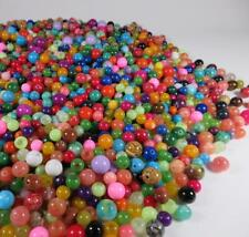 Round Beads Lot Mostly Glass Few Stone Necklace Crafting  6mm- 12mm OVER 3.5 LBS