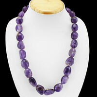 SUPERB ELEGANT AAA 140.00 CTS NATURAL UNTREATED PURPLE AMETHYST BEADS NECKLACE