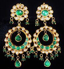 ESTATE 22K 18K GOLD DIAMOND EMERALD ENAMEL CLIP DANGLE CHANDELIER EARRINGS SET