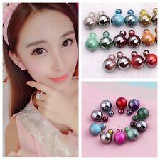 Chica Elegante Aretes Doble Perla Precioso Cristal Pendientes Earings Mujer