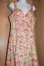 Talbots Petites Lined Cotton Floral Dress Sz 10P Sweetheart Neckline Full Skirt
