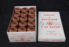 M158 Mercerie ancienne boite Coton à repriser 30 pelotes A LA RUCHE OR marron