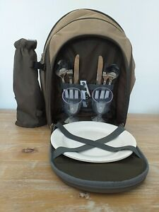 PICNIC BACKPACK. 2 tone brown.  Two person picnic two strap backpack