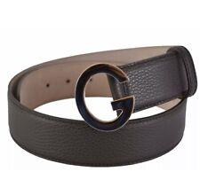 LUXURY GUCCI Women's 362732 Brown Textured Leather G Logo Buckle Belt 32 80
