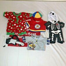 Lot Of Build A Bear Clothing Boys Outfits Pajamas Shirt Hat Skeleton Guitar Bag