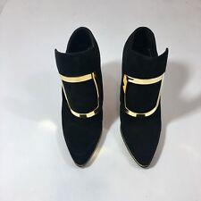 $1435 Balmain Italy Black Gold Suede Leather Pointed Toe Heels Pumps UK 36 US 6