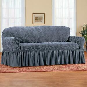 Blue Sofa Slipcover Stretch Couch Cover Ruffled Protective Machine Washable