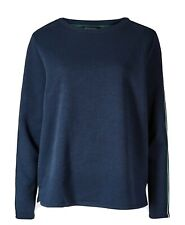 SIZE 18 M&S COLLECTION Cotton Rich Side Stripe Sweatshirt New Blue