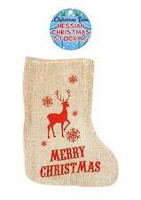 Large Christmas Hessian STOCKING - Jute Rustic Stocking with Reindeer - 53x34cm