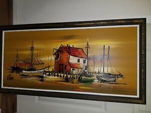 "Mid Century Fillini Painting 39.5""x 17.5"""