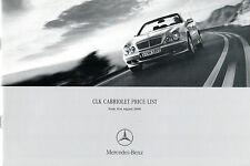 Mercedes-Benz CLK Cabriolet 2000-01 UK Market Specification Brochure