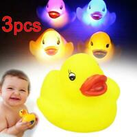 3pcs Kids Yellow Squeaky Ducks Flashing Rubber LED Coloured Light Up Bath Toy