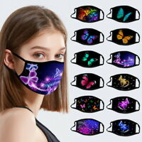 Women Breathable Butterfly Print Cloth Fabric Face Mask Cover Reusable Washable
