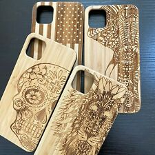 """For iPhone 11 Pro Max 6.5"""" Hard Wood Case Engraved Carving Real Wooden Cover Art"""