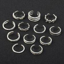 12pcs Adjustable Jewelry Retro Silver Open Toe Ring Finger Foot Rings Beach