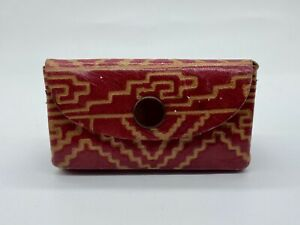 Genuine Leather Handmade Coin Purse Wallet Pouch Red Folk Art