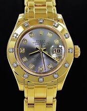 ROLEX MASTERPIECE LADIES 18K YELLOW GOLD FACTORY 12 DIAMOND BEZEL & DIAL 80318
