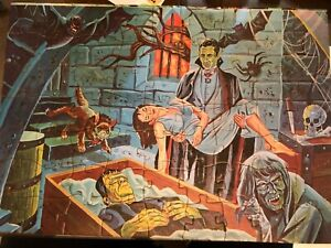 1963 Jaymar Dracula Frankenstein  Picture Puzzle Vampire's Nest with box + Book