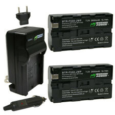 Wasabi Power Battery (2-Pack) and Charger for Sony NP-F330, NP-F530, NP-F550,