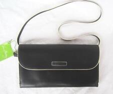 Vera Bradley Flap Clutch Bag NWT w/Shoulder Strap Black Faux Leather Cream Trim