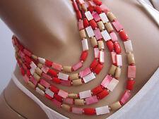 Damen Collier Hals Kette Modekette kurz Modeschmuck Mehrreihig Rot Edel cc991