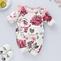 Newborn Baby Girls Long Sleeve Ruffles Floral Printed Romper Jumpsuit Playsuit