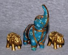 India Elephant Zoo Safari Animal Hindi Decorative Ornaments Statuette A (set 3)